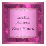 Sweet 16 Silver Pink Bubbles Metal Frame Party Personalized Announcements
