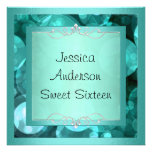 Sweet 16 Silver Teal Bubbles Metal Frame Party Custom Invites