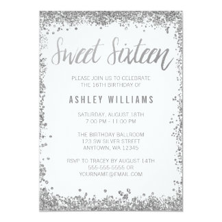 Sweet 16 Silver White Faux Glitter Birthday 13 Cm X 18 Cm Invitation Card