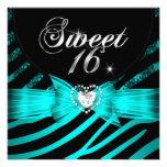 Sweet 16 Sixteen Aqua Blue Black Zebra Custom Invite
