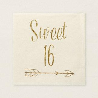 Sweet 16 Sixteen Birthday Gold Glitter Arrow Cake Disposable Napkin