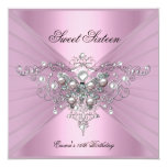 Sweet 16 Sixteen Birthday Party Pink Butterfly Personalized Announcements