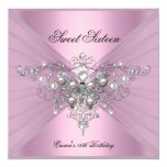 Sweet 16 Sixteen Birthday Party Pink Butterfly 5.25x5.25 Square Paper Invitation Card