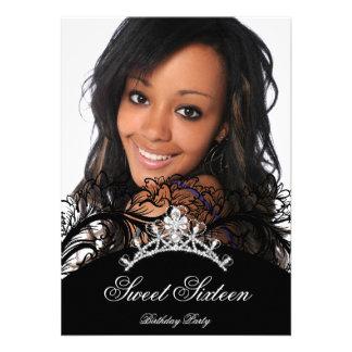 Sweet 16 Sixteen Black Lace Photo Invitation