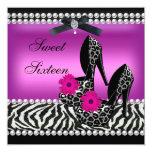 Sweet 16 Sixteen Pink Black Zebra Leopard Announcement