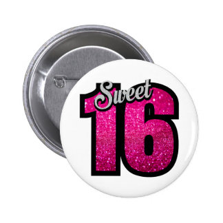 Sweet 16 sixteen pink glitter birthday party girl 6 cm round badge