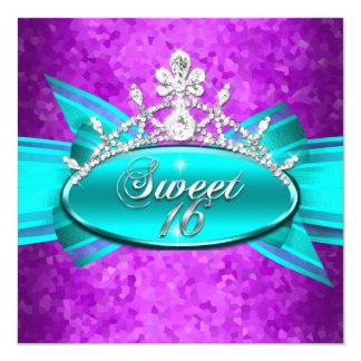 Sweet 16 Sixteen Teal Blue Purple Diamonds Image 5.25x5.25 Square Paper Invitation Card