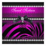 Sweet 16 Sixteen Zebra Hot Pink Black Pearl Lace Custom Invitations