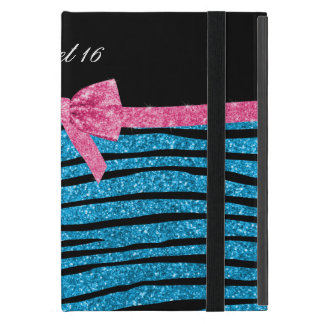 Sweet 16 sky blue glitter zebra stripes cover for iPad mini