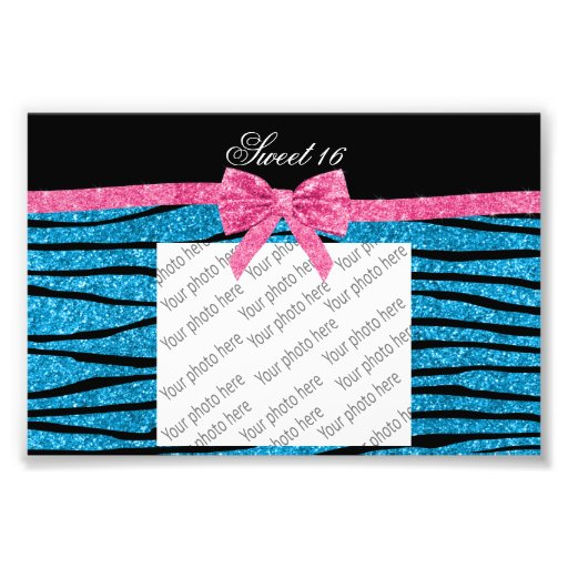Sweet 16 sky blue glitter zebra stripes photo print