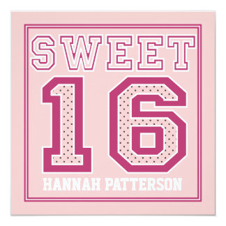Sweet 16 Sporty Girl Jersey Uniform Pink Dot Party 13 Cm X 13 Cm Square Invitation Card