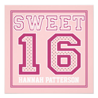 Sweet 16 Sporty Girl Jersey Uniform Pink Dot Party Custom Invite