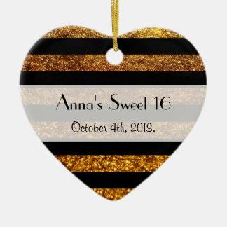 Sweet 16 - Stripes, Lines, Glitter - Gold Black Ceramic Heart Decoration
