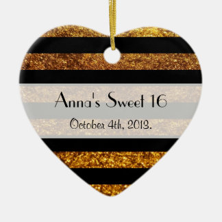 Sweet 16 - Stripes, Lines, Glitter - Gold Black Christmas Ornament
