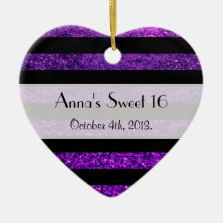 Sweet 16 - Stripes, Lines, Glitter - Purple Black Ceramic Heart Decoration