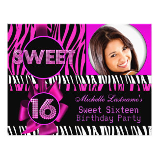 Sweet 16 Sweet Sixteen Hot Pink Zebra Photo 21.5 Cm X 28 Cm Flyer
