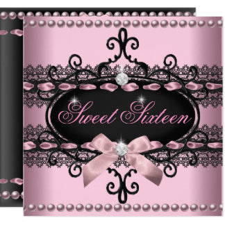 Sweet 16 Sweet Sixteen Pink Black Lace Pearl Card