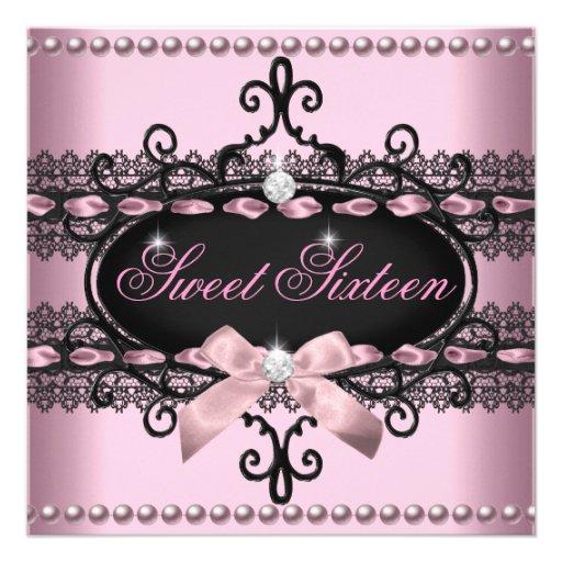 Sweet 16 Sweet Sixteen Pink Black Lace Pearl Custom Invites