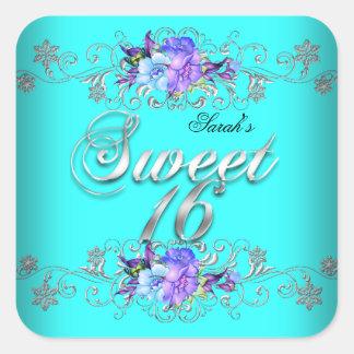 Sweet 16 Sweet Sixteen Teal Purple Flowers Square Sticker