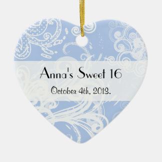 Sweet 16 - Swirled Pattern, Swirly Style - Blue Christmas Ornament