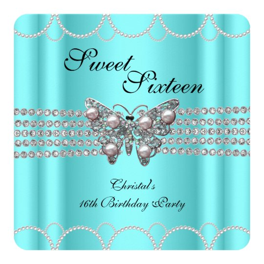 SWEET 16 Teal Blue Butterfly Pearl Birthday party Card