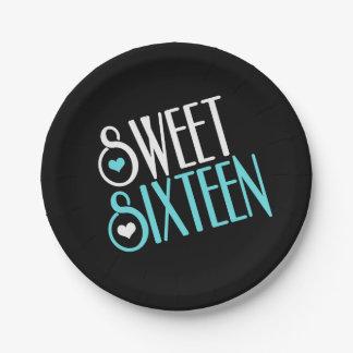 Sweet 16 Teal Paper Plate