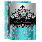 Sweet 16 Teal Silver Black Floral Jewel Party Card
