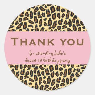 Sweet 16 Thank You Leopard on Pink Round Sticker