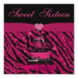 Sweet 16 Trendy Pink Cake & Zebra Stripes 13 Cm X 13 Cm Square Invitation Card