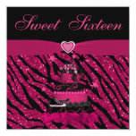 Sweet 16 Trendy Pink Cake & Zebra Stripes 13cm X 13cm Square Invitation Card
