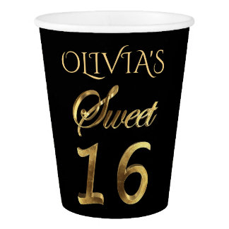 Sweet 16 Typography Black and Gold Look Elegant Paper Cup