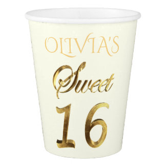 Sweet 16 Typography Pattern Gold Look Elegant Paper Cup