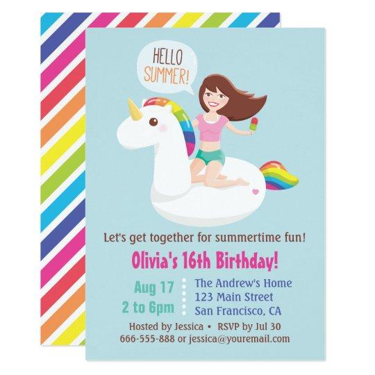 Sweet 16 Unicorn Pool Float Summer Birthday Party Invitation