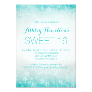 Sweet 16 Vintage Teal Winter Wonderland Card