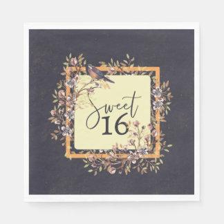 Sweet 16 Watercolor wreath Disposable Serviette