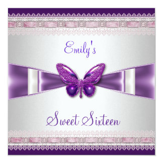 Sweet 16 White Purple Butterfly 13 Cm X 13 Cm Square Invitation Card