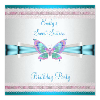 Sweet 16 White Teal Blue Pink Butterfly Birthday 13 Cm X 13 Cm Square Invitation Card