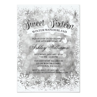 Sweet 16 Winter Wonderland Silver Glitter Lights 13 Cm X 18 Cm Invitation Card
