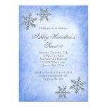Sweet 16 Winter Wonderland Sparkle Snowflakes Blue Personalized Announcements