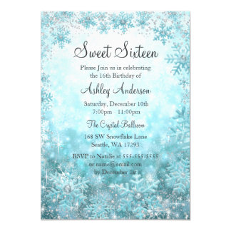 Sweet 16 Winter Wonderland Sparkle Snowflakes Card