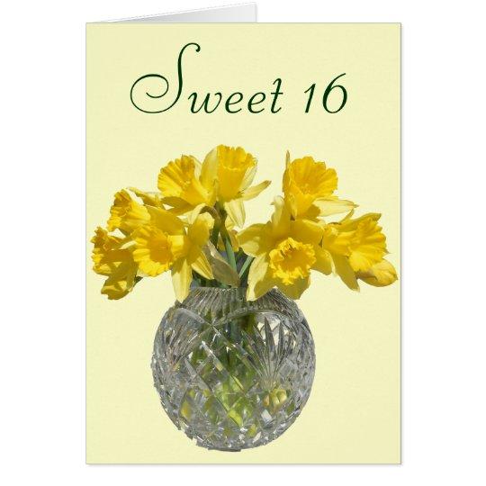 Sweet 16 Yellow Daffodil Bouquet Card