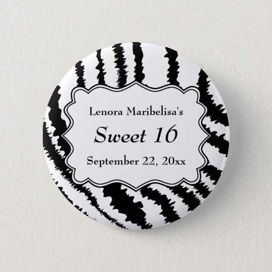 Sweet 16 Zebra Print Pattern 6 Cm Round Badge