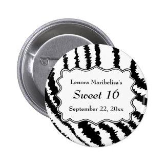 Sweet 16 Zebra Print Pattern 6 Cm Round Badge