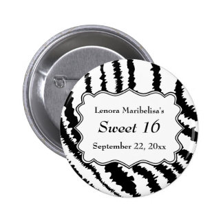 Sweet 16 Zebra Print Pattern Pin