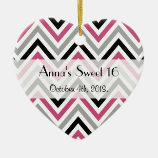 Sweet 16 - Zigzag Pattern, Chevron - Gray Pink Christmas Ornament