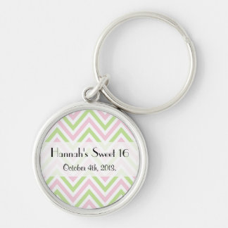 Sweet 16 - Zigzag Pattern, Chevron - Green Pink Key Ring