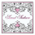 Sweet 16Royal Elegance B/W Pink Invitation