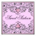 Sweet 16Royal Elegance Black Pink Invitation