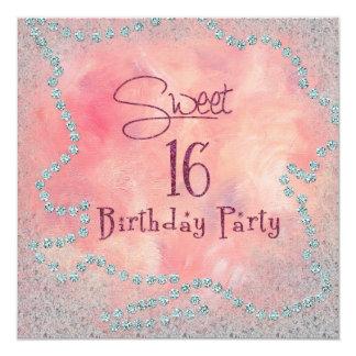 "Sweet 16th Birthday Party Invitation 5.25"" Square Invitation Card"