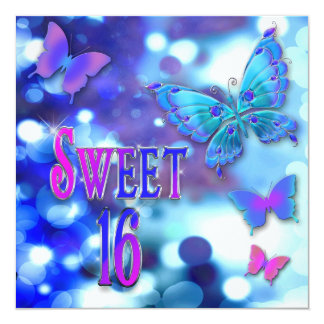 """SWEET 16TH BIRTHDAY PARTY INVITATIONS - BUTTERFLY 5.25"""" SQUARE INVITATION CARD"""